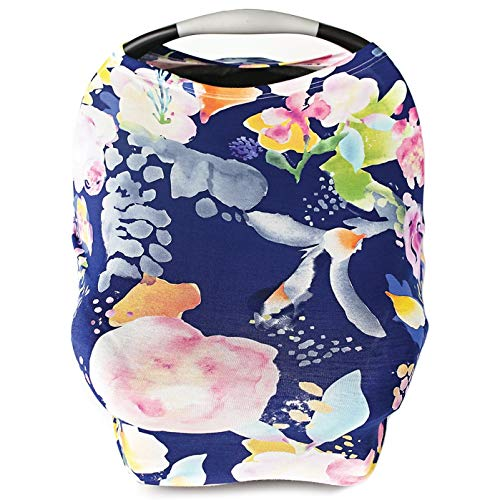 Product Image of the Car Seat Cover for Babies, Nursing Cover, Carseat Canopy - Vintage Navy Floral