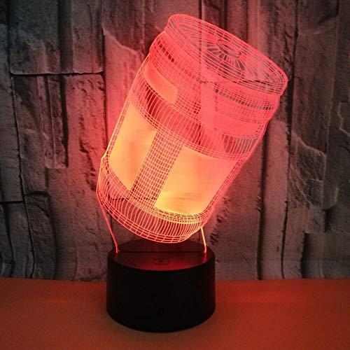 Büchsen Hologramm 3d Lampe Nachttischlampe, Nachtlicht fürs Kinderzimmer, LED Lampe fürs Wohnzimmer