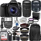 Canon EOS 80D DSLR Camera with EF-S 18-55mm IS STM & EF 75-300mm Lenses & 19PC Professional Bundle – Includes: SanDisk Ultra 64GB SDXC Memory Card + Digital Slave Flash + MORE - International Version