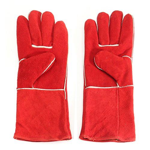 MJJEsports Houtkachel handschoenen lange gevoerde lassers gauntlets brand hoge temperatuur kachel bescherming lassen handschoenen