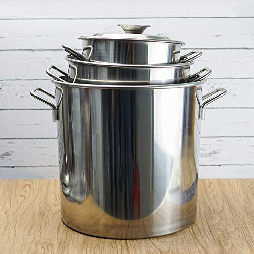 Cocina de gas cocina de olla de utensilios de cocina de inducción olla cubo de acero inoxidable guisado cocinar herramienta comercial de hotel casa tambor Cárter de aceite (Color : D20X45(14L))