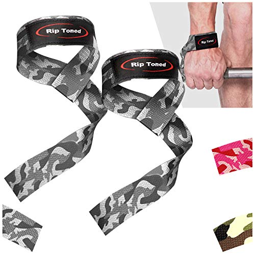 Correas para levantamiento de pesas de Rip Toned (par) - Algodón - Acolchado de neopreno - Para levantamiento de pesas, culturismo, XFit, entrenamiento de fuerza, levantamiento de potencia, MMA ⭐