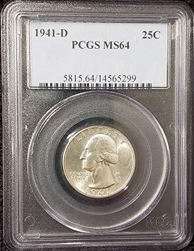 1941 D Silver Washington Quarter Professionally Graded MS64 PCGS