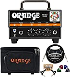 Orange Amps Micro Dark 20W Tube Hybrid Amplifier Head for Electric Guitars Bundle with Vinyl Travel Bag, Blucoil 10' Straight Instrument Cable (1/4'), 2-Pack of Pedal Patch Cables, and 4x Guitar Picks