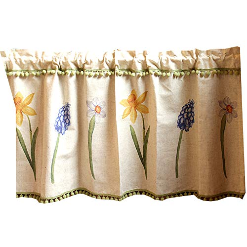 YCMY Cafe Kitchen Curtains Beige Short Window Curtain Linen Floral Kitchen Curtain Valance, Bistro Curtain American Half Curtains for Coffee.