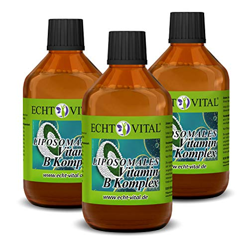 ECHT VITAL LIPOSOMALES VITAMIN B KOMPLEX - 3 Flaschen mit je 250 ml - Eine Flasche enthält 25 Portionen à 10 ml | hoch bioverfügbar | frei von gentechnisch veränderten Organismen