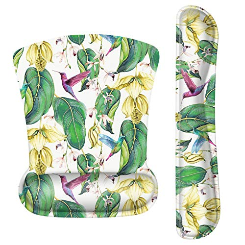 Mouse Pad with Wrist Support Gel, Ergonomic Keyboard Wrist Rest and Mouse Pad Set with Raised Memory Foam Blbow for Computer Desktop/Laptop/Notebook,Green Flower Bird Tree