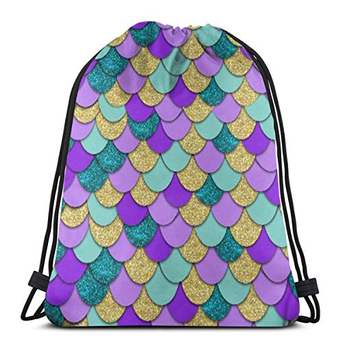 Gold Purple Mermaid Scales Pattern Cute Funny Print Drawstring Backpack
