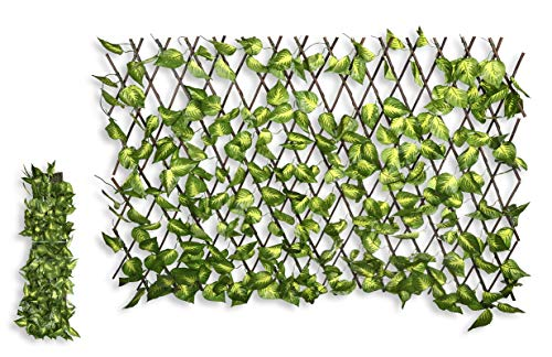 HERSIG - Celosía Extensible con Hojas Decorativas de Color Claro - 60x180cm