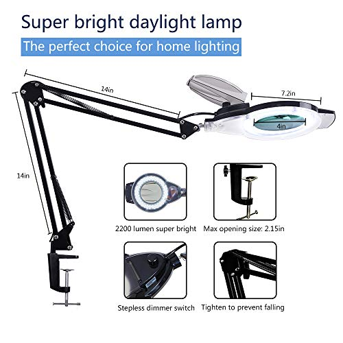 LED Magnifying Lamp with Clamp, KIRKAS 2,200 Lumens Dimmable Super Bright Full Spectrum Daylight 5-Diopter Magnifier Glass Light Lens, Adjustable Swivel Arm lamp for Desk Table Craft Workbench-Black