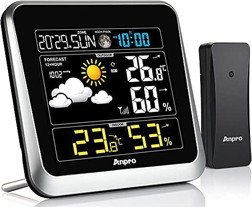 Anpro Wetterstation Funk mit Außensensor, Wetterstationen Funk Innen und Außentemperatur Funk mit Wettervorhersage Farbdisplay Digital Thermometer Innen und Außen Raumthermometer Hygrometer