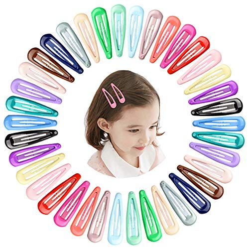 KNMY 40 Stück Haarspange Snap, Haarclips Mädchen Set, Metallclips Süßigkeitfarbe(20 Farben) Kinder Haarklammern