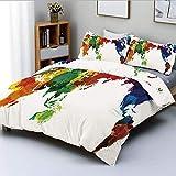 Juego de funda nórdica, mapamundi de colores del arco iris, estilo grunge, abstracto, global, universal, inspirado en la paz, arte decorativo, juego de cama de 3 piezas con 2 fundas de almohada, multi