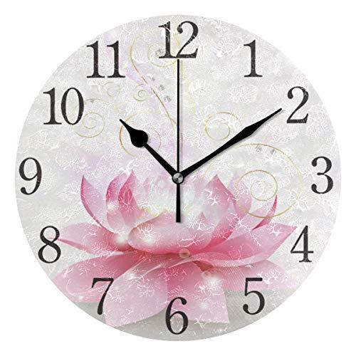 Mnsruu Runde Wanduhr mit rosa Lotusblüte, geräuschlos, kein Ticken, Ölgemälde für Schlafzimmer, Wohnzimmer, Büro, Schule, Heimdekoration