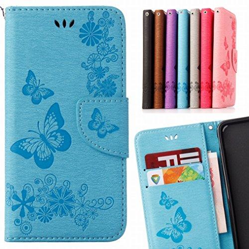 LEMORRY Huawei P8 Lite (2017) Hülle Tasche Ledertasche Flip Beutel Slim Schutz Magnetisch Schließung SchutzHülle Weich Silikon Cover Schale für Huawei P8 Lite (2017), Butterfly Blau