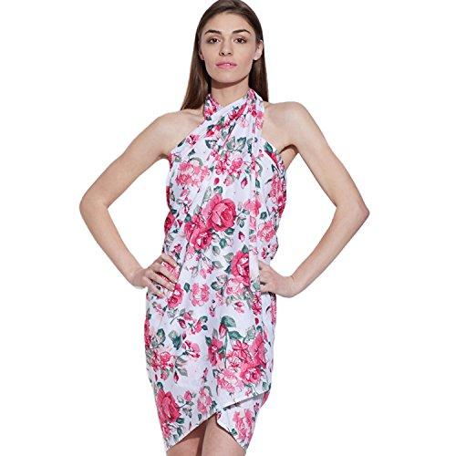 inhoma - Estola - vestido - para mujer Weiß im floralem Muster Talla única