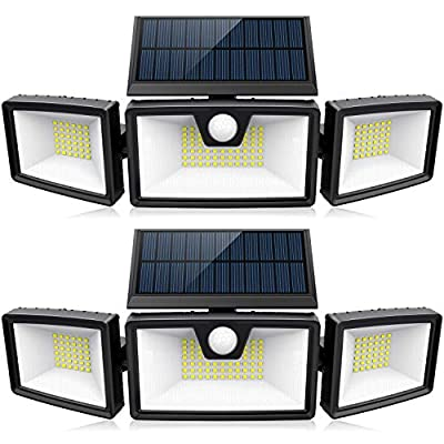 Bright Solar Motion Sensor Lights Outdoor w/ 3 Work Modes, 3 Adjustable Heads, Wider Lighting Range. Waterproof Security Solar Powered Flood Lights for Outside Wall Yard(1500LM, 132 LED, 2 Pack)
