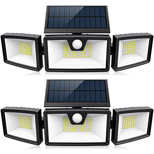 Solar Motion Sensor Lights Outdoor w/ 3 Work Modes, 3 Adjustable Heads, Wider Lighting Range. Waterproof Security Solar Powered Flood Lights for Outside Wall Yard(1200LM, 132 LED, 2 Pack)