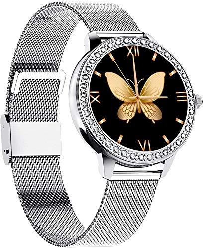Smartwatch Mujer, Reloj Inteligente Impermeable IP68 Pulsera Actividad, Inteligente Reloj Deportivo Reloj Fitness con 1.09inch Pantalla Táctil Completa Pulsómetro Cronómetros per iOS Android