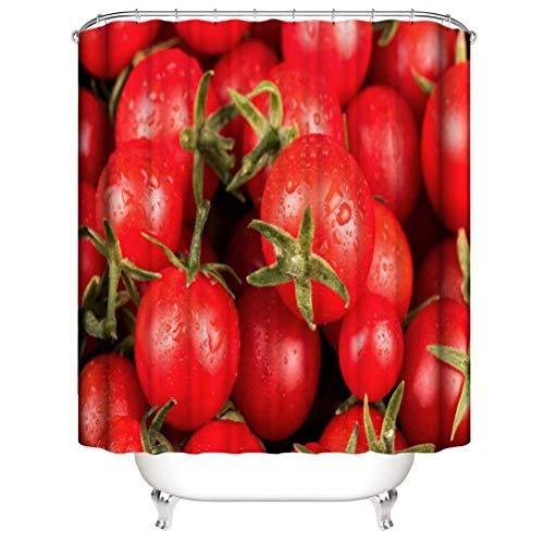 ZZZdz Leckere Tomaten. Haus Dekoration. Duschvorhang: 180X180 cm. 3D Hd Druck. Wasserdicht. Einfach Zu Säubern. Badezimmerzubehör.