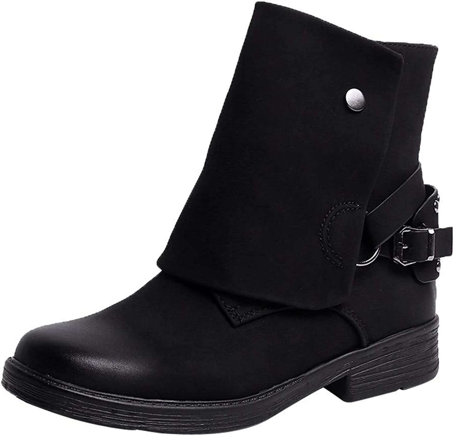Vintage Round Toe Leather Booties, Zipper Martin Boots Square Heel