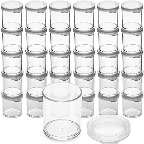 DecorRack 30 Plastic Mini Containers with Lids, 1oz, Craft Storage Containers for Beads, Glitter, Slime, Paint or Seed Storage, Small Clear Empty Cups with Lids (30 Pack)
