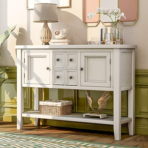 Merax Buffet Retro Style Sideboard Wood Console Table with Cabinets Drawers Shelf for Entryway Living Room Kitchen (White)