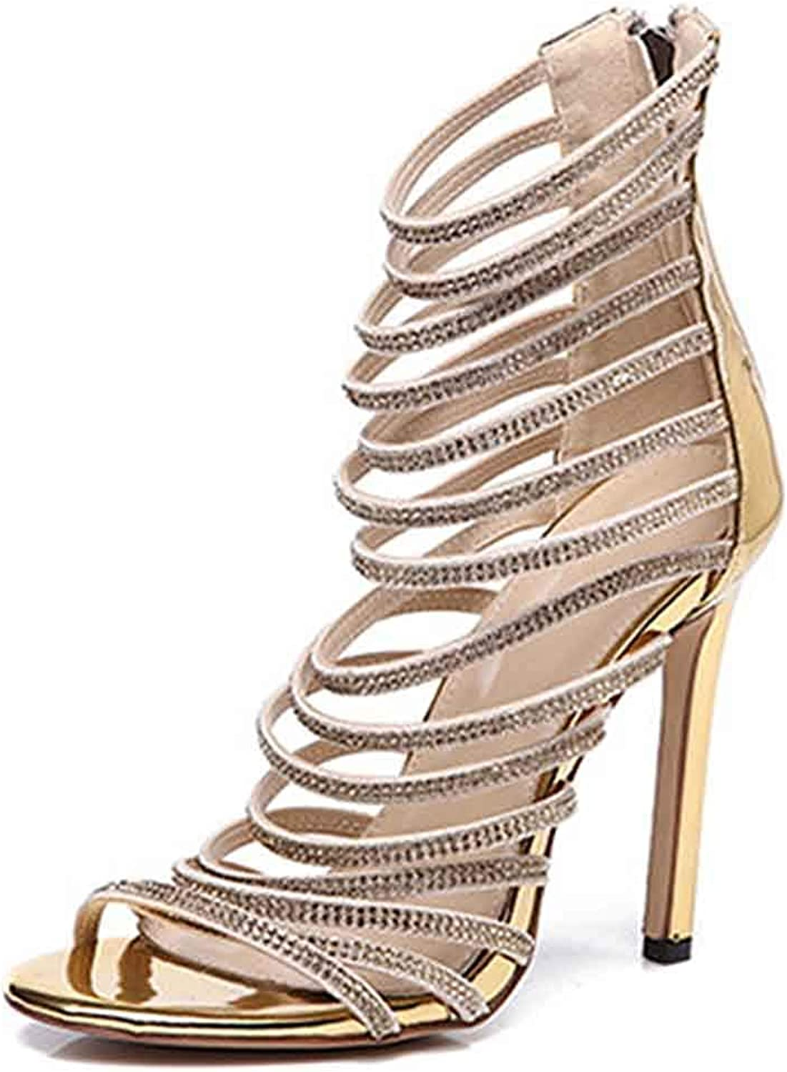 Unm Women's Strappy Sandals Rhinestone - Ankle Strap Open Toe Zipper - Sexy Stiletto High Heels