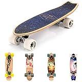 meteor Fancy Board Vintage Mini Cruiser Complete Bois véritable Érable Canadien Skateboard Ridge Mini Skate Planche a roulettes rétro 55 cm / 22'