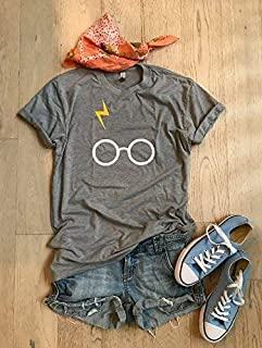Gray/XSmall/Harry Potter/Harry Potter Glasses/Unisex Fit/Hand Made/Made To Order/Unisex Fit/Harry Potter T Shirt/Thunder Bolt With Glasses/Crew Neck Shirt/Fast Shipping