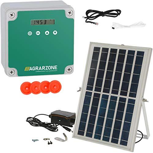 Agrarzone automatische Solar Hühnertür Hühnerklappe ohne Schieber | Türöffner Hühnerstall mit Zeitschaltuhr & Lichtsensor | 230V, Batterie & Solar | Hühnerstall-Tür für sichere Hühnerhaltung