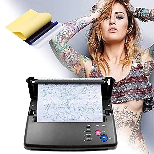 SEAAN Máquina de transferencia de tatuajes Impresora de plantillas de tatuajes Máquina fotocopiadora térmica con 10 piezas de papel de transferencia térmica de tatuajes y 500 patrones digitales