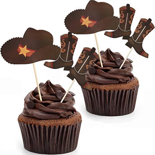 60 Stücke Cowboy Hüte und Stiefel Cupcake Toppers Western Cowboy Cupcake Toppers für Western...