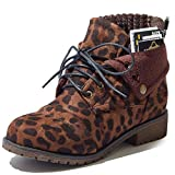 DailyShoes Calf Ankle Lace Up Boots for Women Ankle Pocket Boot Combat Boots Lace Up Zipper High Thin Heels Fashion Party Cool Autumn Short Shoes Money Wallet Booties Tina-99 Brown Leopard Sv 8.5