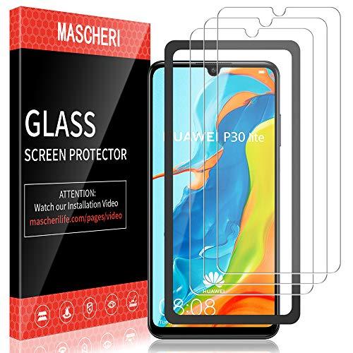 MASCHERI Protector de Pantalla para Huawei P30 Lite Cristal Templado [3 Paquetes] [Marco de posicionamiento] Vidrio Templado Protector Pantalla para Huawei P30 Lite