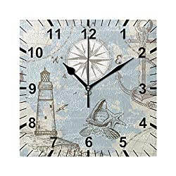 susiyo Nautical Map with Anchor Lighthouse and Compass Printed Square Wall Clock Silent Non Ticking Quartz Battery Operated Analog Modern Decor Clock for Bedroom Living Room Kitchen Desk Farmhouse-7