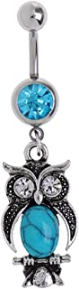 Baosity Turquoise Belly Bar Button Navel Ring Cute Owl Barbell Jewelry