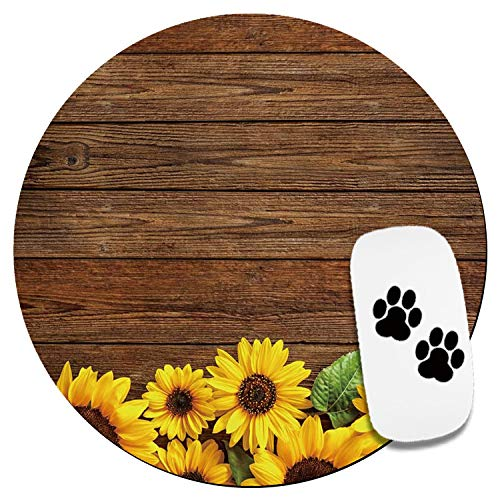 Cute Mouse Pad-Office Mouse Pad- Home & Travel Small Mouse Pad with Stickers -Round Mousepad with Design for Women & Kids -Wood Sunflower Customized Gaming Mouse Mat for Wireless Mouse Laptop