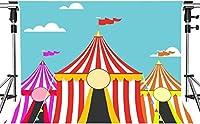 パーティー写真のHDサーカスの背景漫画のテーマサーカステントの背景キッズパーティーの背景装飾小道具7x5ftHXMT062