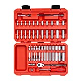 TEKTON 1/4 Inch Drive 12-Point Socket & Ratchet Set, 55-Piece (5/32-9/16 in., 4-14 mm) | SKT05302