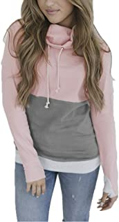 JYLFP Women's Stitching Pullover Hoodie Drawstring Cowl Neck Long Sleeve Casual Sweatshirt 4 Color