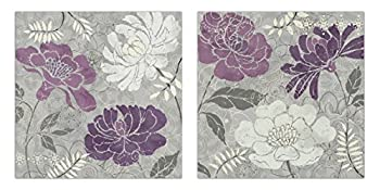 Lovely Purple and Grey Stencil Pattern Flower Set by Daphne Brissonnet  Floral Decor  Two 12x12in Poster Prints