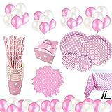 cotigo Set de Vajilla Desechables para Fiesta de Cumpleaños,para 16 Personas,Diseño Lunares,Color Rosa, Ideal para Niñas y Infantiles