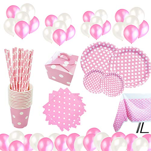 Set de Vajilla Desechables para Fiesta de Cumpleaños,para 16 Personas,Diseño Lunares,Color Rosa, Ideal para Niñas y Infantiles