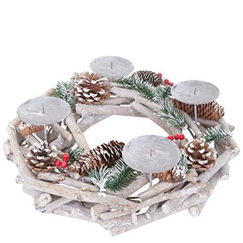 Mendler Adventskranz rund, Weihnachtsdeko Tischkranz, Holz Ø 35cm weiß-grau - ohne Kerzen