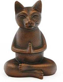 Buddha Groove Meditating Praying Namaste Cat Statue with Antique Bronze Finish | Cheerful Yoga Gift Made of Cast Stone for Indoor Use | Measures 6 High Tall