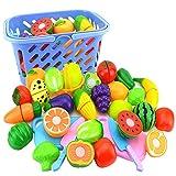 NIWWIN Spielnahrungsset für Kinder, so tun, als würden Sie Gemüse und Obst schneiden - Spielen Küchenzubehör 23 Teile, mit einem Spielzeugmesser und einem schönen Korb
