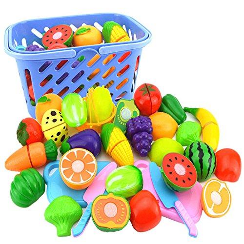 NIWWIN Set de Plats à Jouer pour Enfants, Légumes et Fruits Jouets coupés à Dessiner - Accessoires de Cuisine 23 pièces, avec Un Couteau et Un Beau Panier