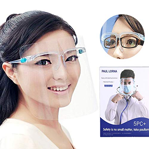 5PCS All-Round Protection Headband Cap with Glasses, Universal Reusable Face Protective Visor for Eye Head Protection, Anti-Spitting Splash Facial Cover for Women, Men