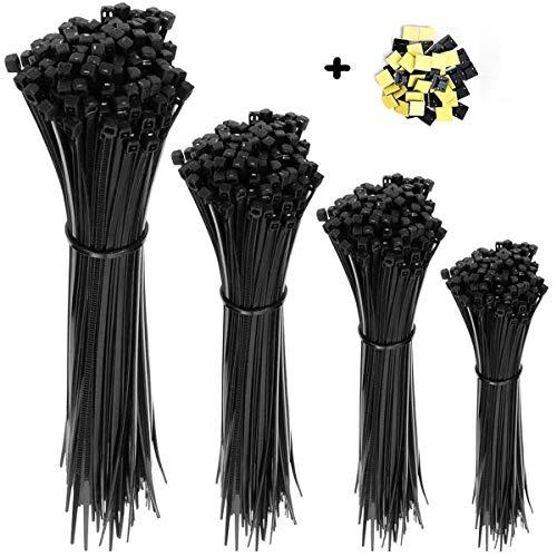 Mehrzweck Kabelbinder Set 100/150/200/250/300 mm (je 100 Stück) Und 20 Kabelbinderhalter, Ultra starkes Nylon kabelbinder schwarz, Hitzebeständig,UV Beständig (schwarz)